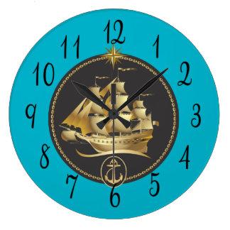 Sailing Ship in Gold and Black Clocks