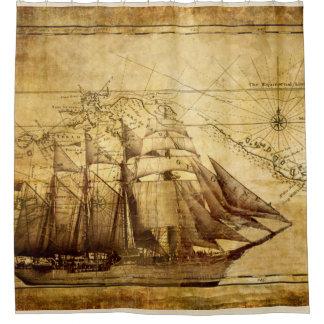 sailing ship on parchment shower curtain