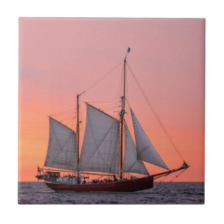 Sailing ship on the Hanse Sail in Rostock Small Square Tile