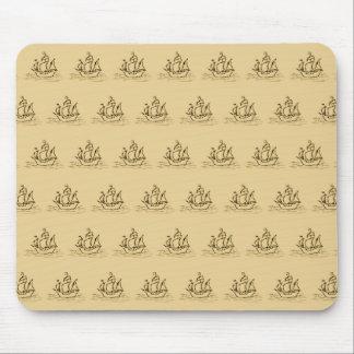 Sailing Ship Pattern Tan Color Mousepads