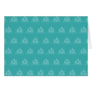 Sailing Ship Pattern, Teal Color. Card