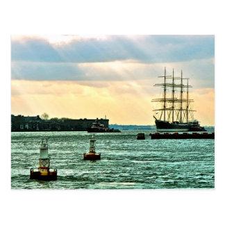 Sailing ship Peking under tow Postcard