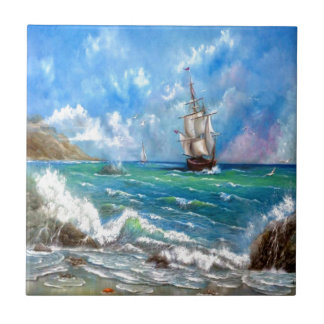 Sailing Ship Seascape Design Small Square Tile