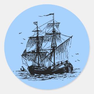 Sailing ship round stickers