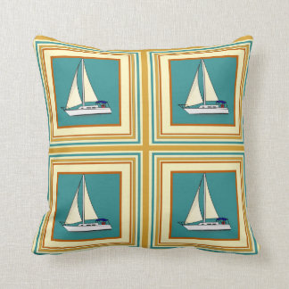 Sailing Ship Tile Throw Pillows