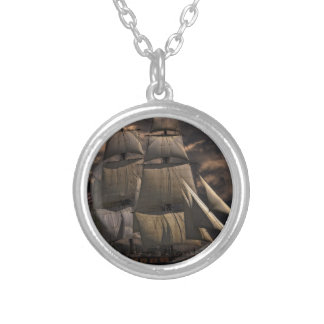 Sailing Ship Vessel Silver Plated Necklace