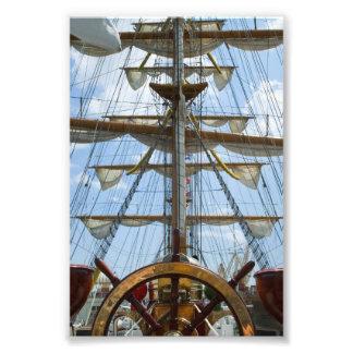 Sailing Ship Wheel and Rigging Photograph