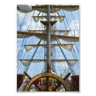 Sailing Ship Wheel and Rigging Photographic Print