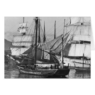 Sailing Ships in Harbor Card