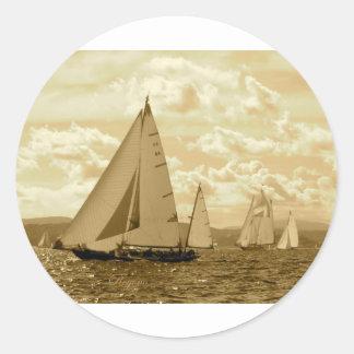 Sailing Round Stickers