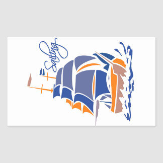 Sailing stickers, customizable rectangular sticker