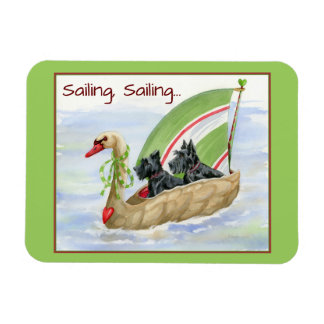 Sailing Swan Scotties Rectangular Photo Magnet
