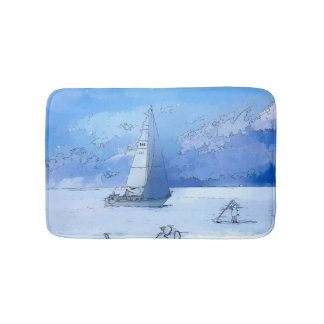 Sailing the Calm Blue Waters - Sailboating Bath Mat
