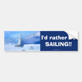 Sailing the Calm Blue Waters - Sailboating Bumper Sticker