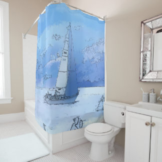 Sailing the Calm Blue Waters - Sailboating Shower Curtain