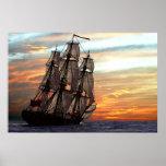 sailing towards sunset posters