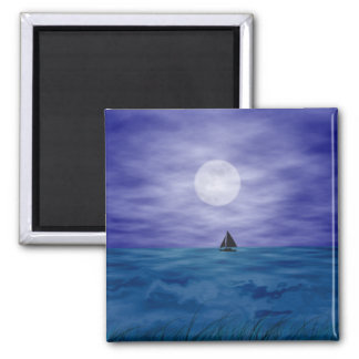 Sailing Under The Moon Square Magnet