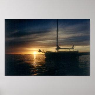 Sailing Vessel Tranquility Base at anchor Poster