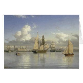 Sailing Vessels off Kronborg Castle, Sweden, 1880 Card
