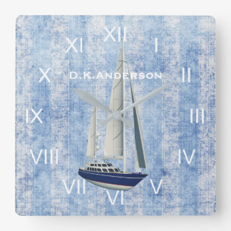 Sailing Yacht Clock Blue and White