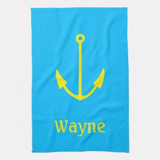 Sailor Anchor Your Name (Wayne) Tea Towel