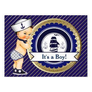 Sailor Boy Navy Nautical Baby Shower 17 Cm X 22 Cm Invitation Card