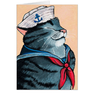 Sailor Cat Nautical Tabby Cat Painting Card