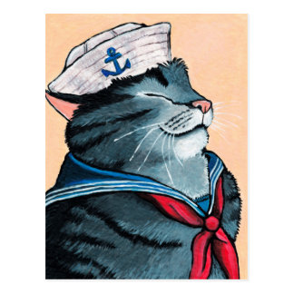 Sailor Cat Nautical Tabby Cat Painting Postcard