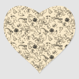 Sailor Jerry Pattern Heart Sticker