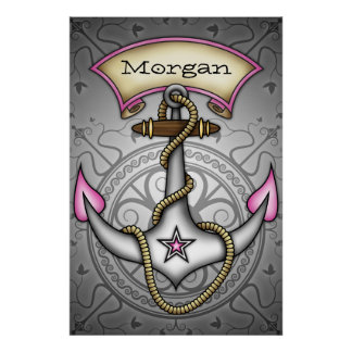 Sailor Jerry Tattoo Anchor  Chic Grunge Poster