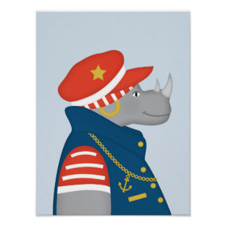 Sailor Rhino | Nautical Nursery Art Poster