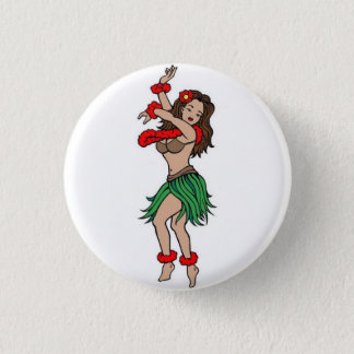 Sailor Tattoo - Hawaiian Hula Dancer - Button