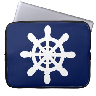Sailor Wheel laptop sleeve blue