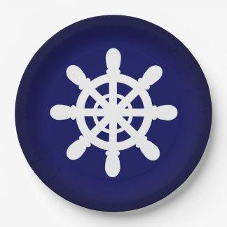 Sailor Wheel paper plate blue