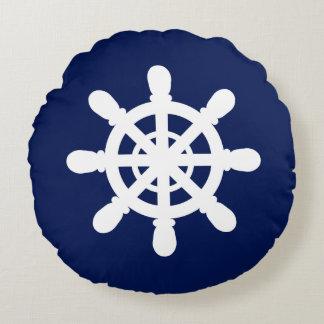 Sailor Wheel round pillow blue