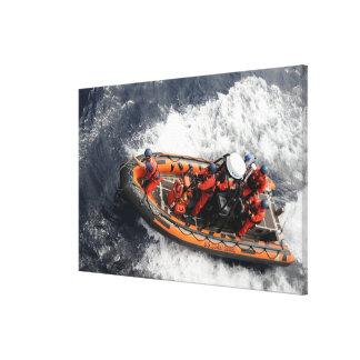 Sailors conducting small boat training canvas print