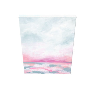 Sailors Delight - Pink and Gray Ocean Painting Canvas Print