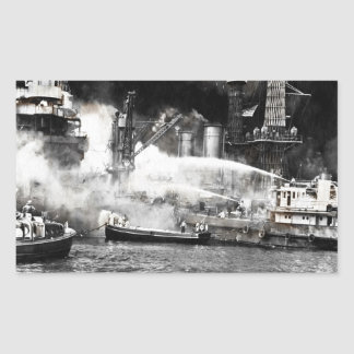 Sailors Fighting Fires on Shipboard Rectangular Sticker
