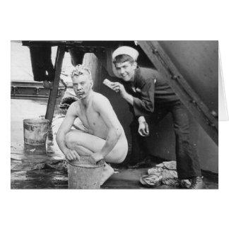 Sailors Washing Up 1913 Card