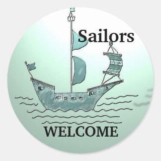 Sailors Welcome Round Sticker