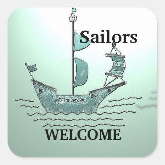 Sailors Welcome Square Sticker