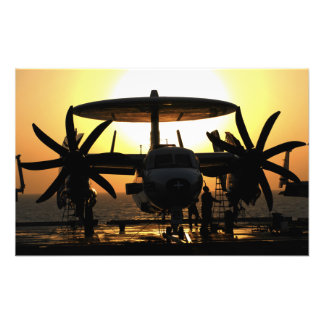 Sailors work on an E-2C Hawkeye aircraft Photographic Print