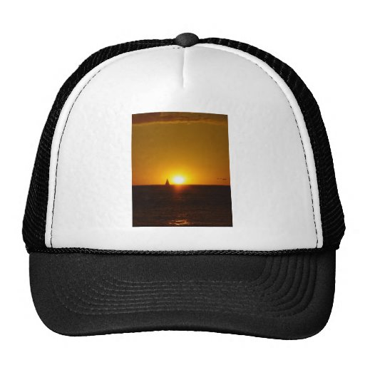 Sails In The Sunset On Mullalloo Beach At Western Trucker Hats