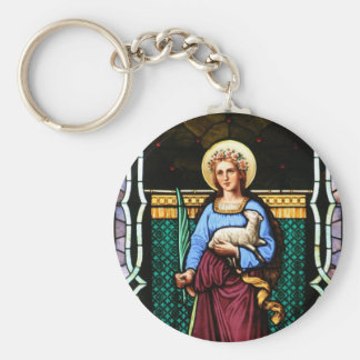 Saint Agnes (Agnes of Rome) - Stained Glass Art Basic Round Button Key Ring