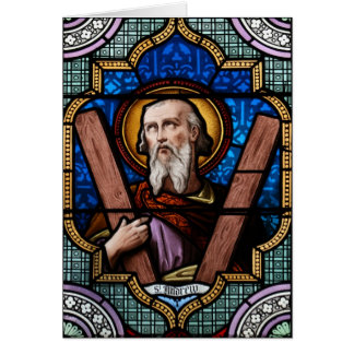 Saint Andrew (Apostle Andrew) Stained Glass Art Card
