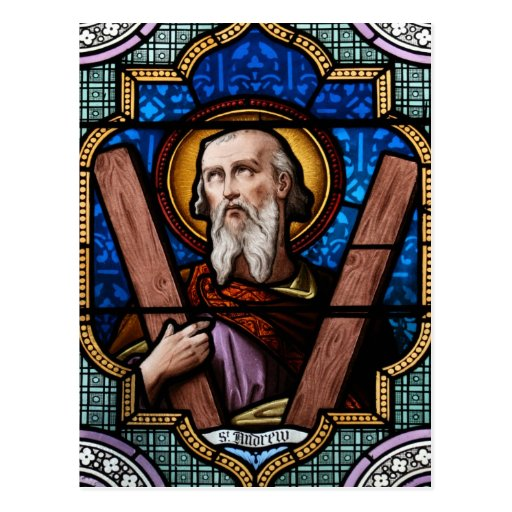 Saint Andrew (Apostle Andrew) Stained Glass Art Postcards