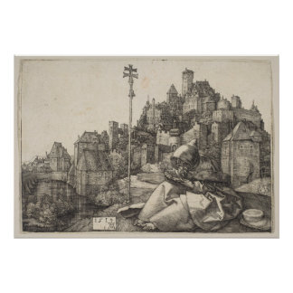 Saint Anthony Engraving by Albrecht Durer Poster