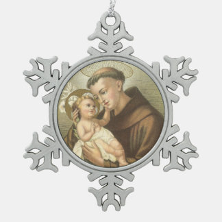 Saint Anthony of Padua with Baby Jesus Snowflake Pewter Christmas Ornament