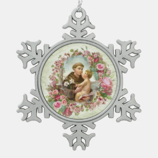 Saint Anthony Pink Roses Floral Wreath Snowflake Pewter Christmas Ornament