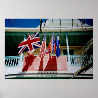 Saint Augustine Florida British American flags Poster
